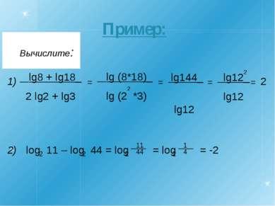 Пример: 1) 2) 2 log 11 – log 44 = log = log = -2 2 2 2 ____ 2 1 4