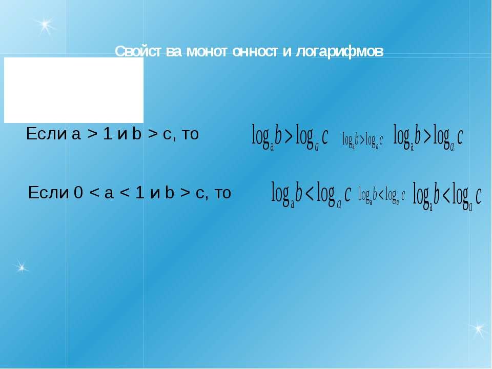 Свойства монотонности логарифмов Если a > 1 и b > c, то Если 0 < a < 1 и b > ...