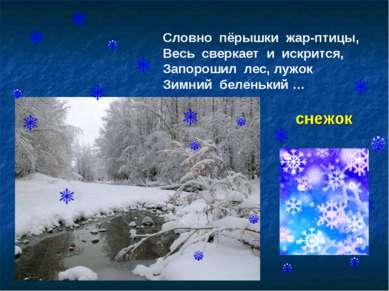 Словно пёрышки жар-птицы, Весь сверкает и искрится, Запорошил лес, лужок Зимн...