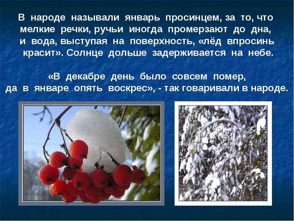 В народе называли январь просинцем, за то, что мелкие речки, ручьи иногда про...