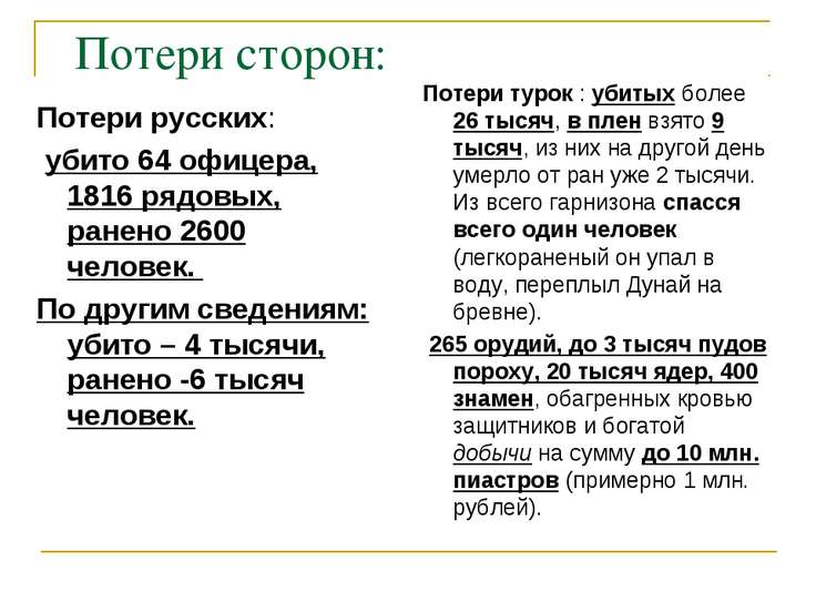 Потери сторон: Потери русских: убито 64 офицера, 1816 рядовых, ранено 2600 че...