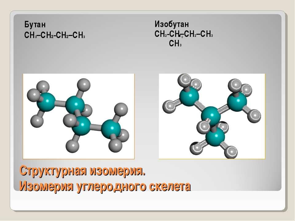 Структурная изомерия. Изомерия углеродного скелета Бутан СН3–СН2-СН2–СН3 Изоб...