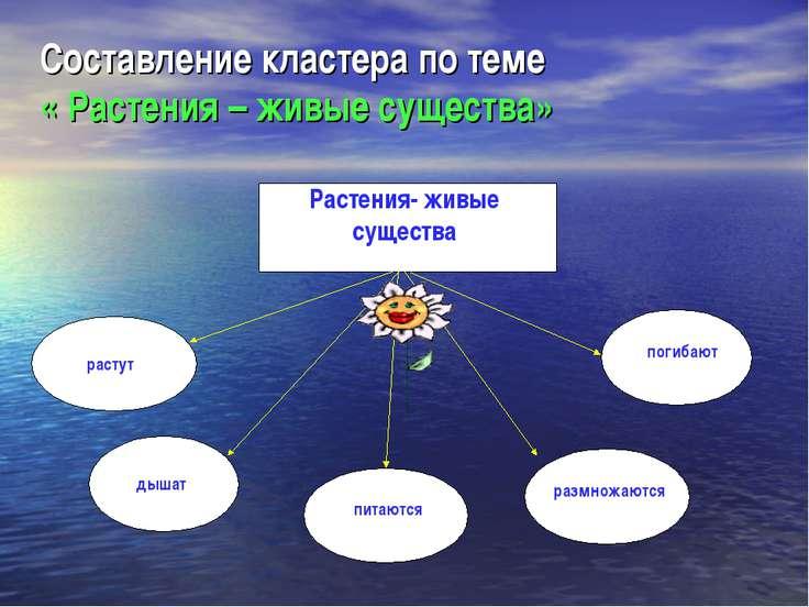 Составление кластера по теме « Растения – живые существа» Растения- живые сущ...