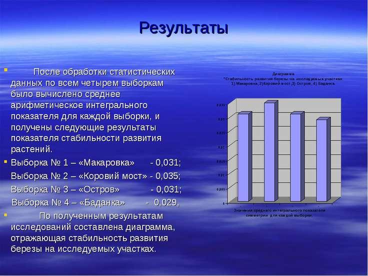 Результаты После обработки статистических данных по всем четырем выборкам был...