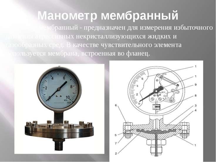 Манометр мембранный Манометр мембранный -предназначен для измерения избыточн...