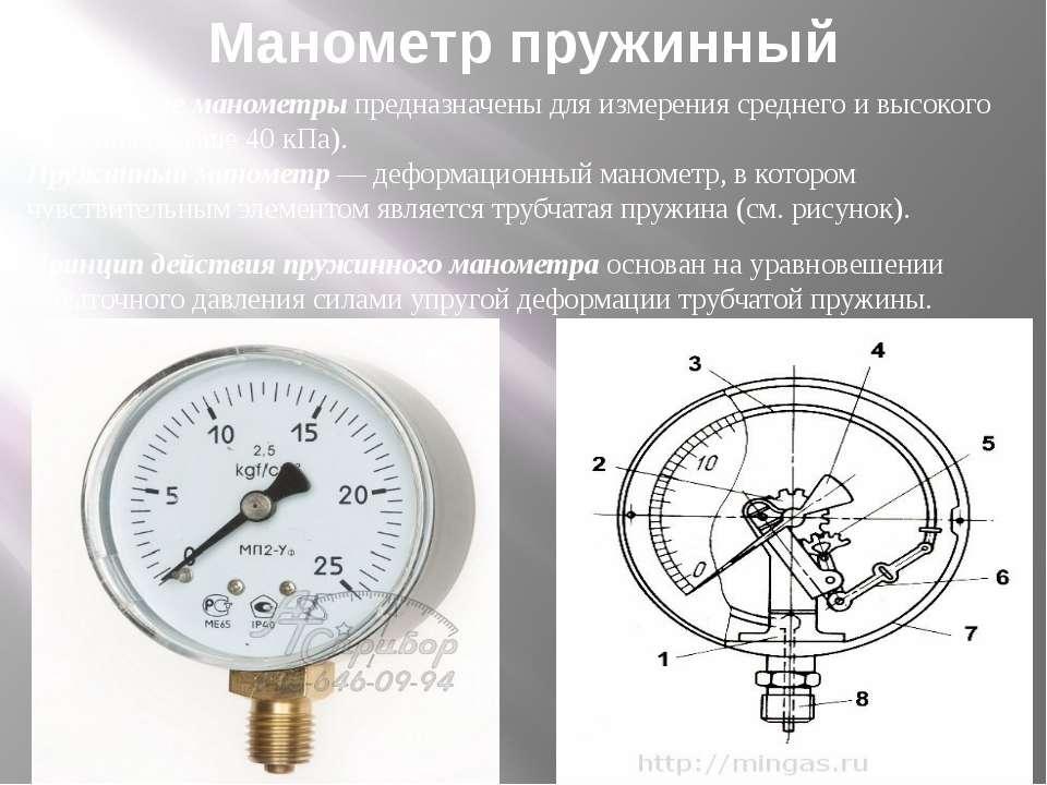 Манометр пружинный Пружинные манометрыпредназначены для измерения среднего и...