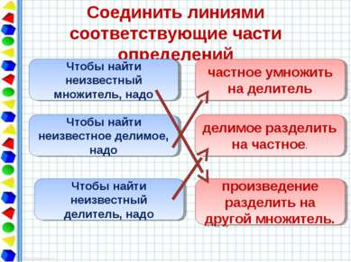 Соединить линиями соответствующие части определений Чтобы найти неизвестный м...