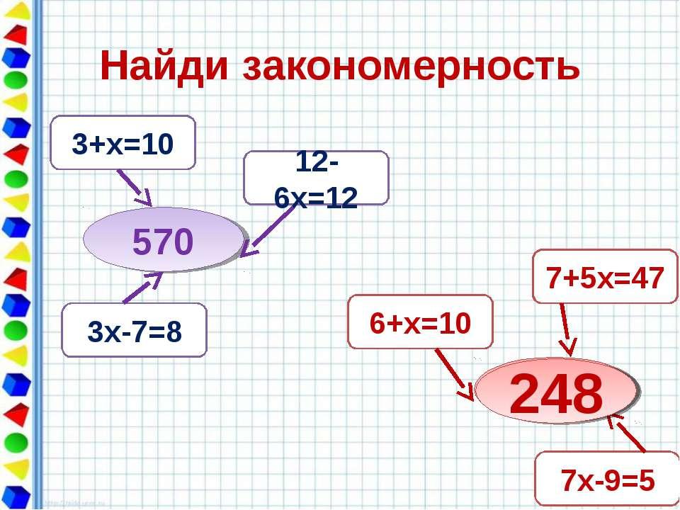 Найди закономерность 570 3+х=10 12-6х=12 3х-7=8 ? 7+5х=47 6+х=10 7х-9=5 248