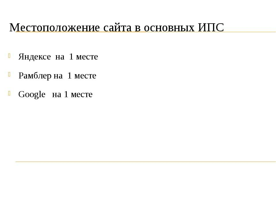 Местоположение сайта в основных ИПС Яндексе на 1 месте Рамблер на 1 месте Goo...