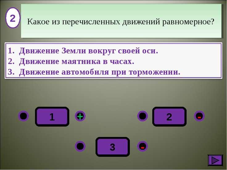 2 - + - 3 1 2 Какое из перечисленных движений равномерное?