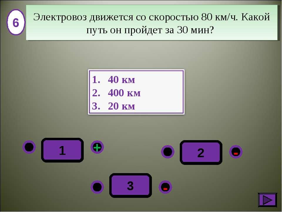 - + - 3 2 1 6 Электровоз движется со скоростью 80 км/ч. Какой путь он пройдет...