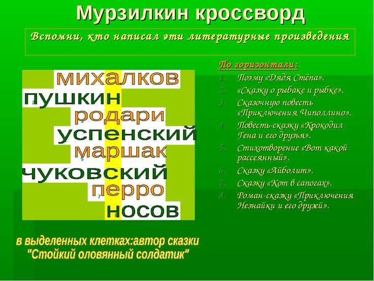 Мурзилкин кроссворд Вспомни, кто написал эти литературные произведения По гор...