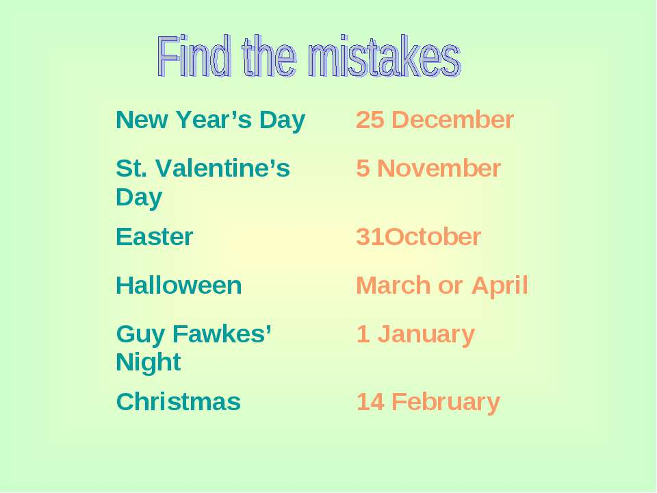 New Year's Day 25 December St. Valentine's Day 5 November Easter 31October Ha...