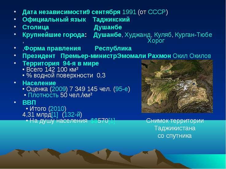 Дата независимости9 сентября 1991 (отСССР) Официальный язык Таджикский Столи...