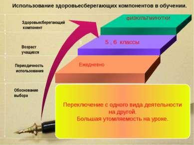 Использование здоровьесберегающих компонентов в обучении. фИЗКУЛЬТМИНУТКИ 5 5...