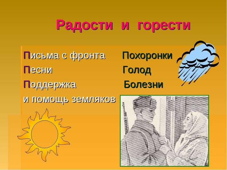 Радости и горести Письма с фронта Похоронки Песни Голод Поддержка Болезни и п...