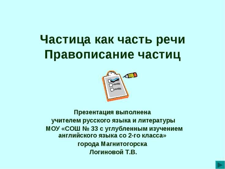 Частица как часть речи Правописание частиц Презентация выполнена учителем рус...