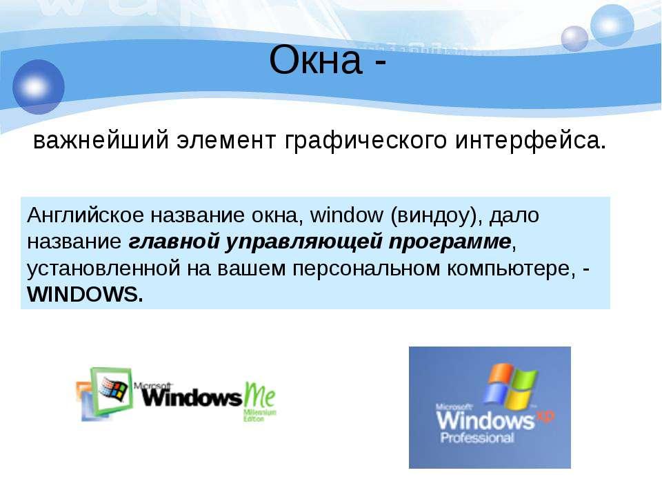 Окна - важнейший элемент графического интерфейса.