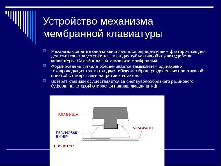Устройство механизма мембранной клавиатуры Механизм срабатывания клавиш являе...