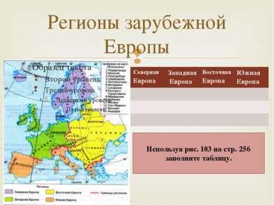 Регионы зарубежной Европы Используя рис. 103 на стр. 256 заполните таблицу. С...