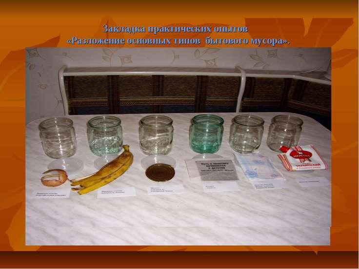 Закладка практических опытов «Разложение основных типов бытового мусора».