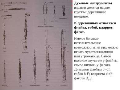 Духовые инструменты издавна делятся на две группы: деревянные имедные. К дере...
