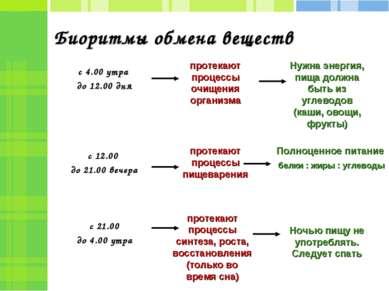 Биоритмы обмена веществ с 4.00 утра до 12.00 дня с 12.00 до 21.00 вечера с 21...
