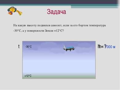 Задача На какую высоту поднялся самолет, если за его бортом температура -30°С...