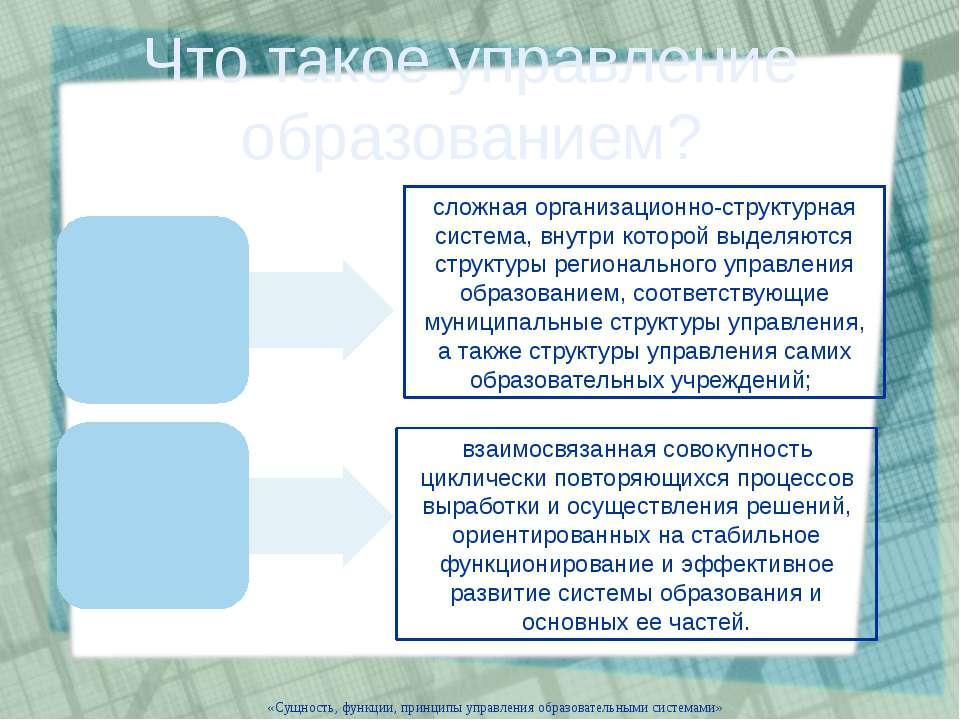 «Сущность, функции, принципы управления образовательными системами» Что такое...