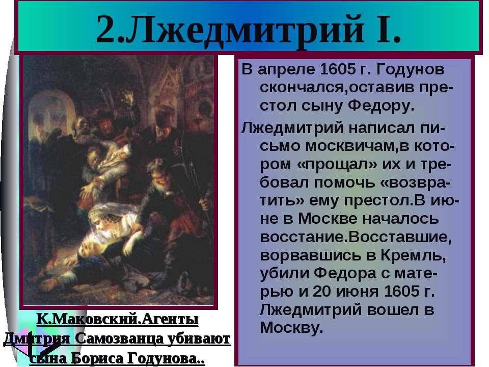 2.Лжедмитрий I. В апреле 1605 г. Годунов скончался,оставив пре-стол сыну Федо...