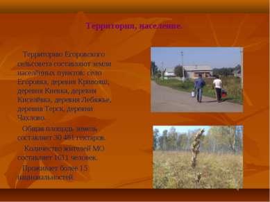 Территория, население. Территорию Егоровского сельсовета составляют земли нас...
