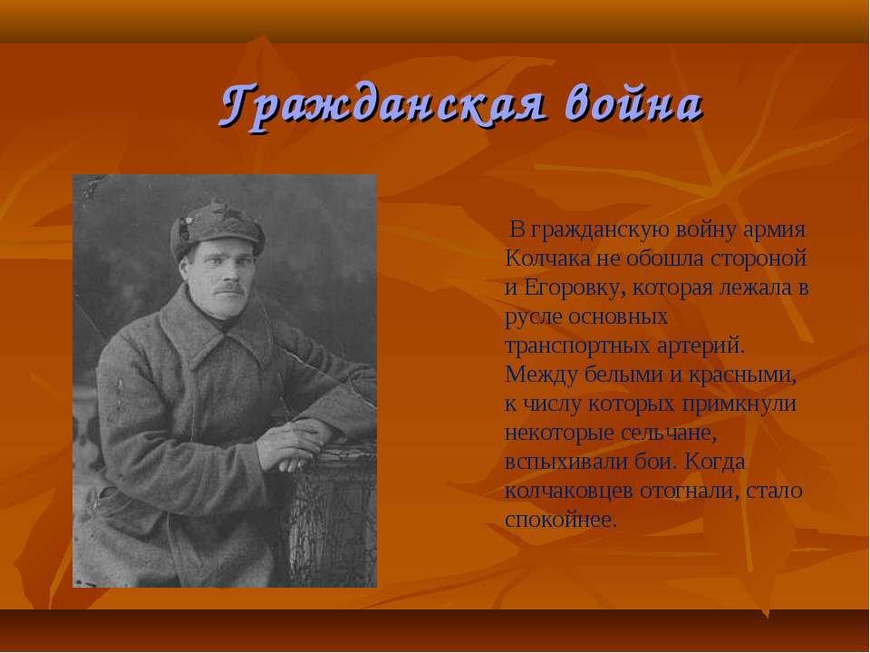 В гражданскую войну армия Колчака не обошла стороной и Егоровку, которая лежа...