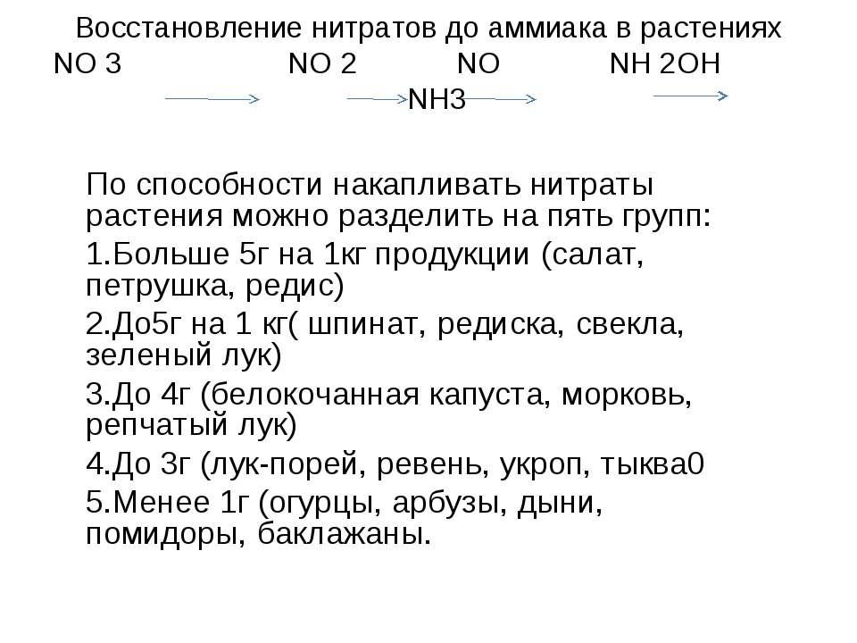 Восстановление нитратов до аммиака в растениях NO 3 NO 2 NO NH 2OH NH3 По спо...