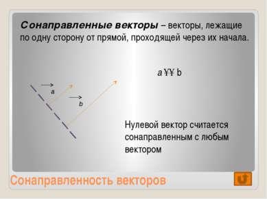 Противоположность векторов Вектора называются противоположными, если они прот...