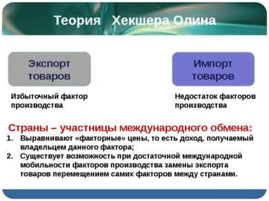 Теория Хекшера Олина Экспорт товаров Импорт товаров Избыточный фактор произво...
