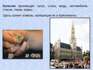 Бельгия производит чугун, сталь, медь, автомобили, стекло, ткани, ковры … Зде...
