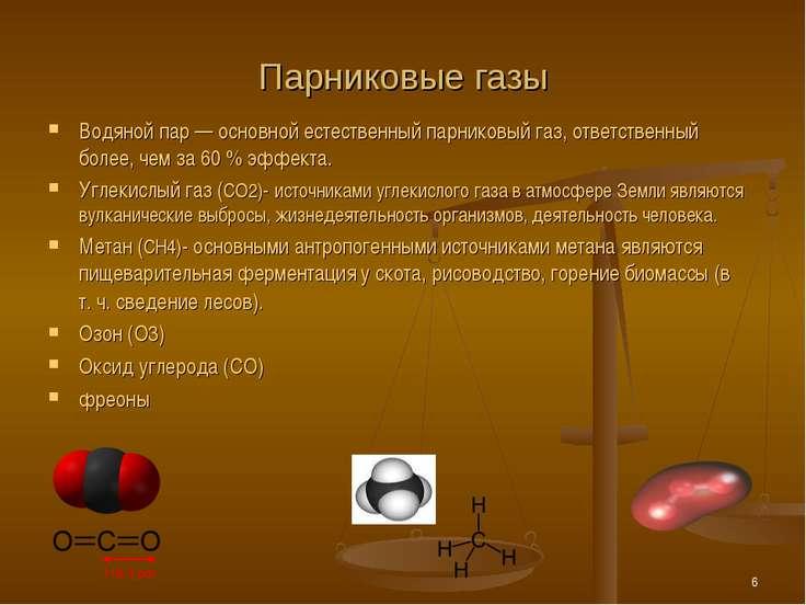 * Парниковые газы Водяной пар — основной естественный парниковый газ, ответст...