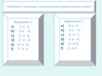 Найдите с помощью координатной прямой сумму чисел: Вариант 1 -1 и 2; 3 и -4; ...