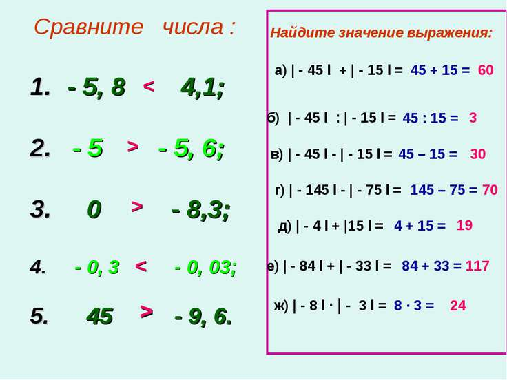 Сравните числа : - 5, 8 4,1; 2. - 5 - 5, 6; 3. 0 - 8,3; 4. - 0, 3 - 0, 03; 5....