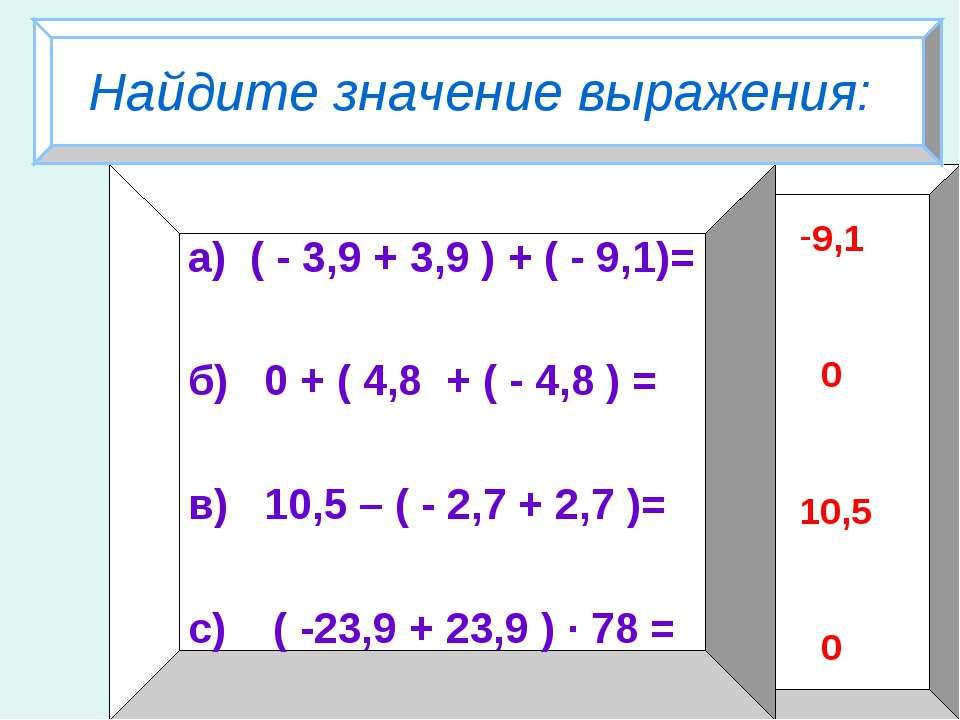 Найдите значение выражения: а) ( - 3,9 + 3,9 ) + ( - 9,1)= б) 0 + ( 4,8 + ( -...