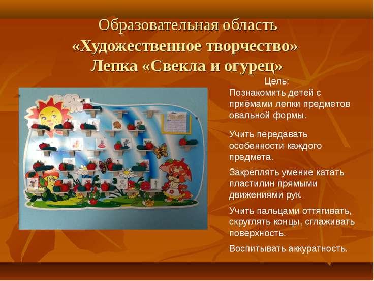 Образовательная область «Художественное творчество» Лепка «Свекла и огурец» Ц...