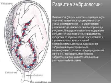 Развитие эмбриологии: Эмбриология (от греч. embrion — зародыш, logos — учение...