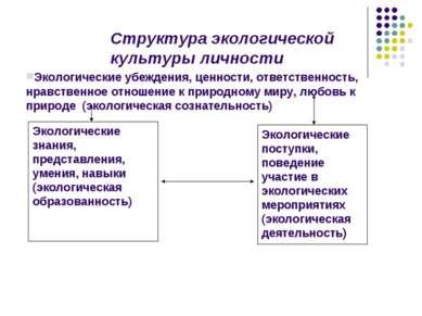 Структура экологической культуры личности Экологические убеждения, ценности, ...