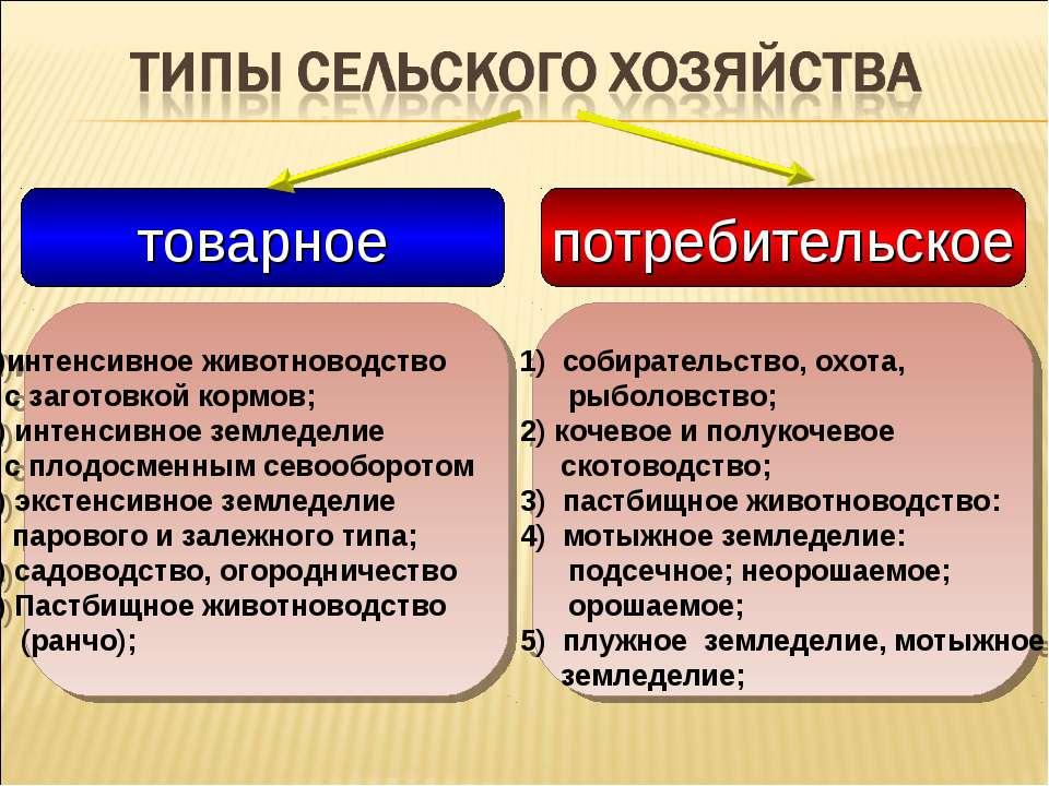 товарное потребительское 1)интенсивное животноводство с заготовкой кормов; 2)...