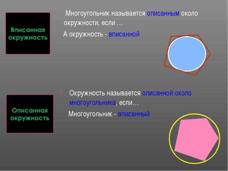 Многоугольник называется описанным около окружности, если … А окружность - вп...