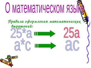 Правила оформления математических выражений: