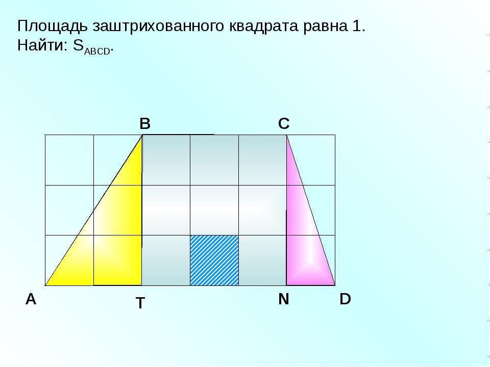 Площадь заштрихованного квадрата равна 1. Найти: SABCD. A В С D
