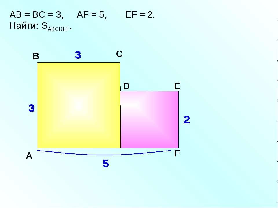 АВ = ВС = 3, АF = 5, EF = 2. Найти: SABCDEF. A В С F D E 3 3 5 2