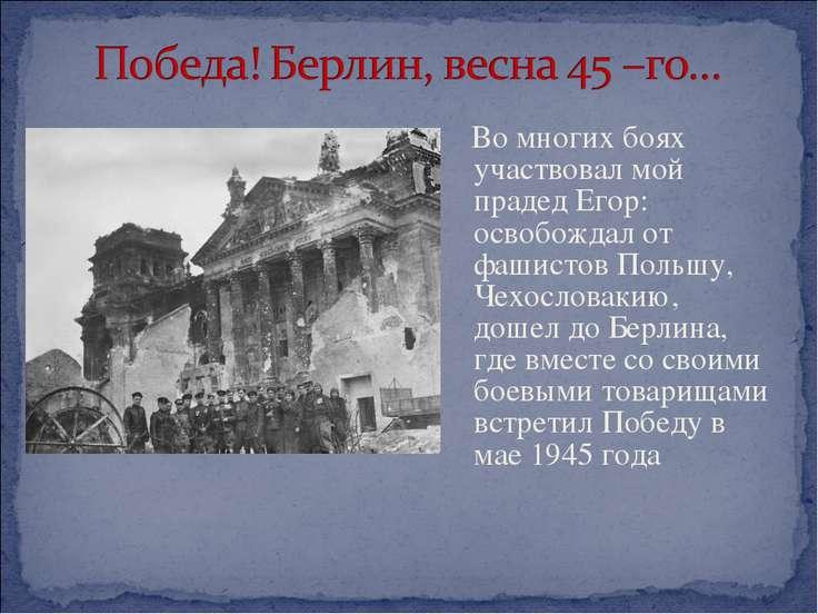 Во многих боях участвовал мой прадед Егор: освобождал от фашистов Польшу, Чех...