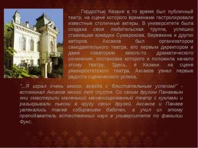 Гордостью Казани в то время был публичный театр, на сцене которого временами ...